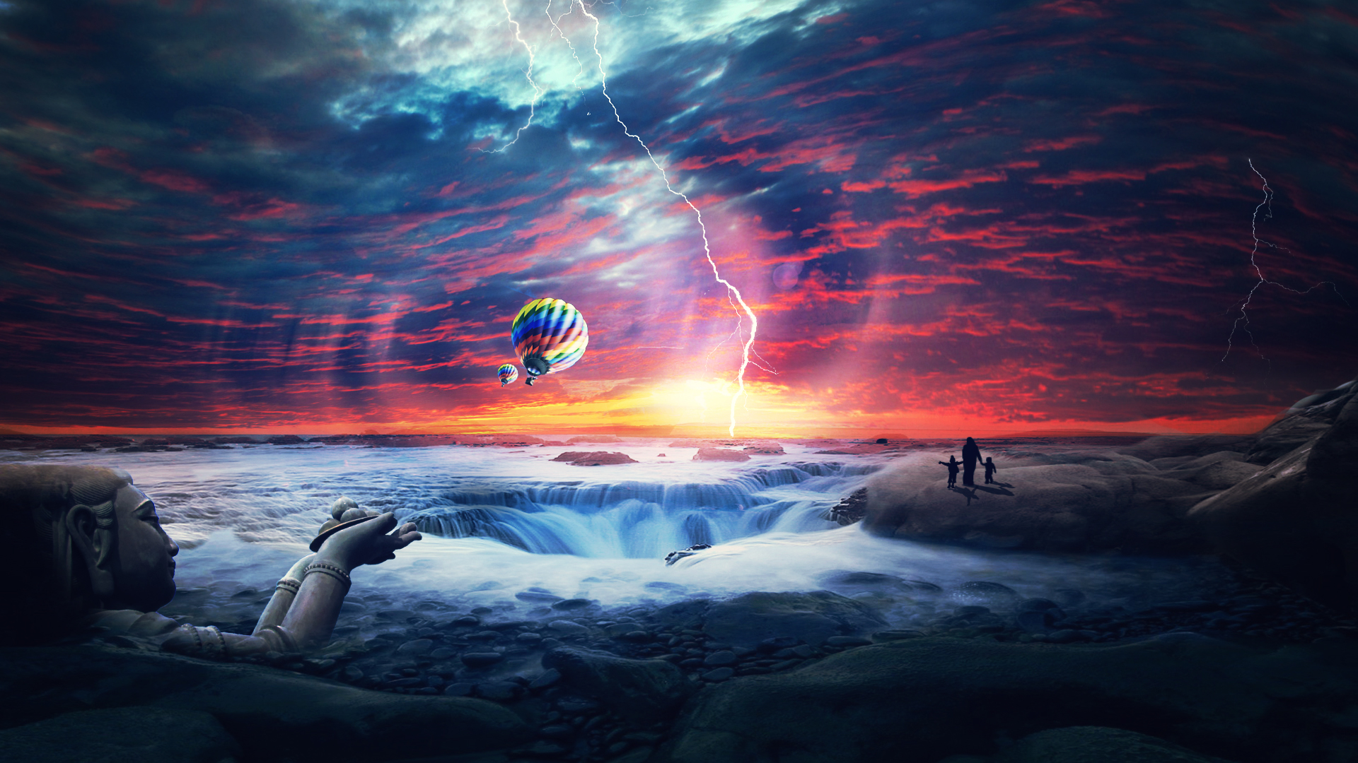 HD Wallpapers Heaven Sunset Sea Airballons