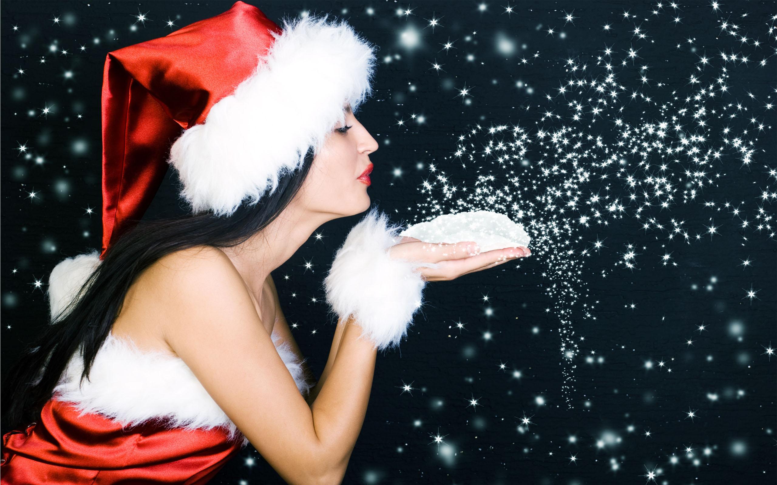 HD Wallpapers Beautiful Christmas Sanata Babe
