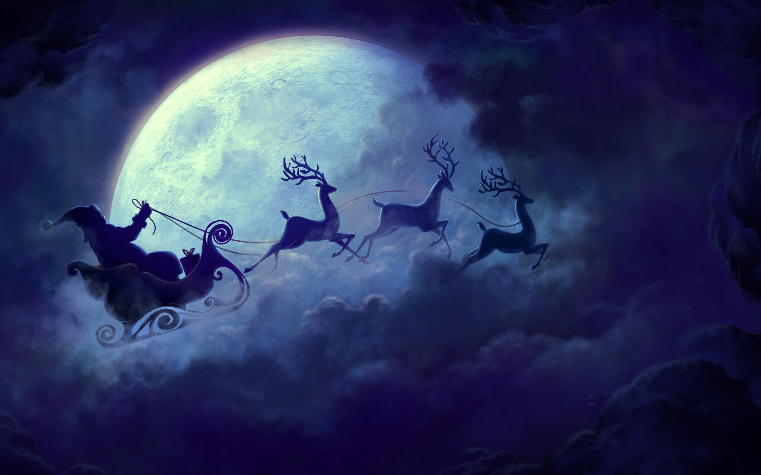 HD Wallpapers Santa Claus Moon