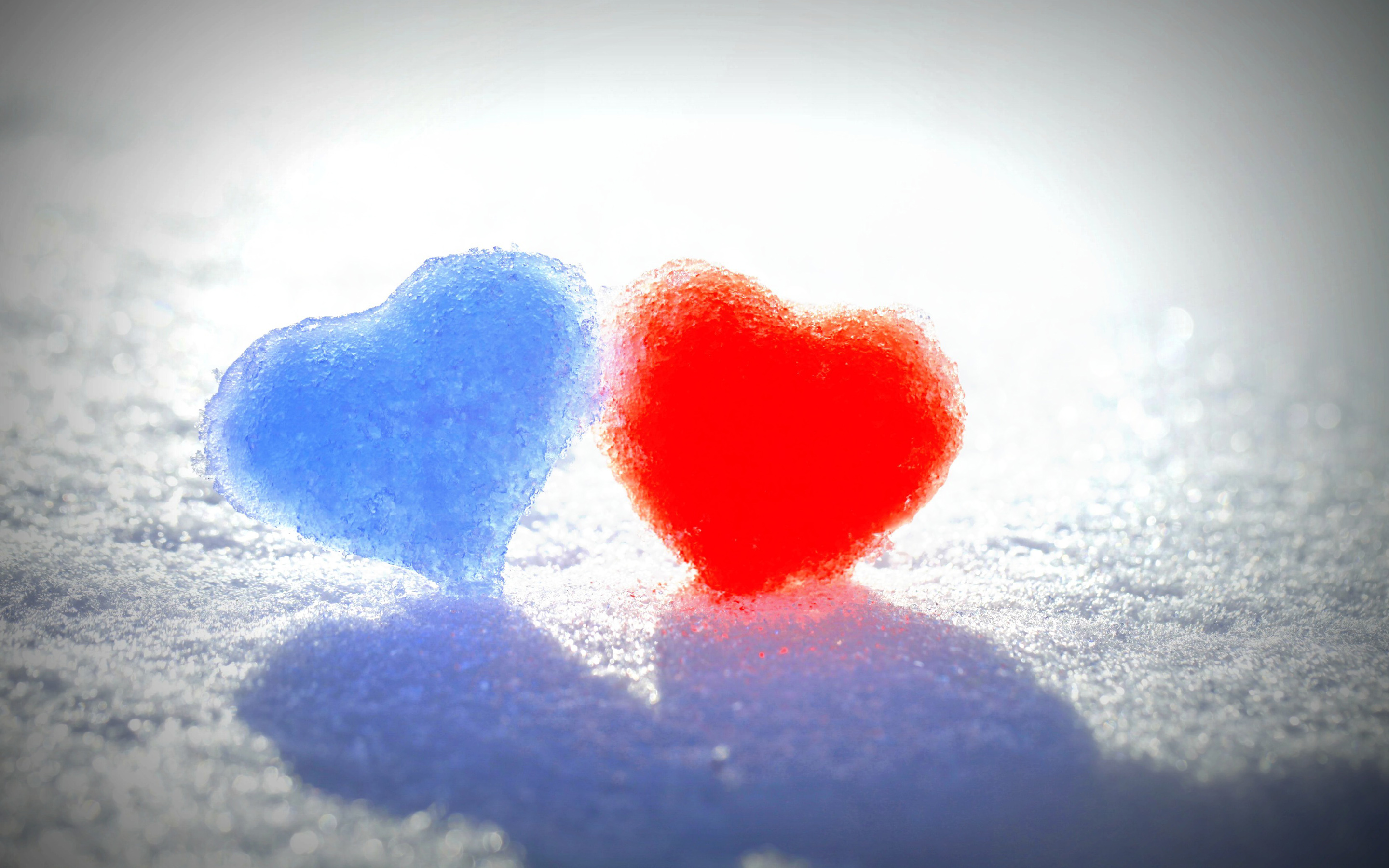 HD Wallpapers Blue Red Snow Hearts