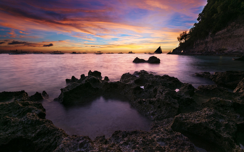 HD Wallpapers Coastal Sunset Seascape