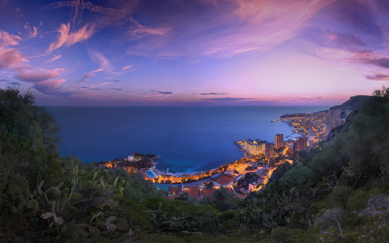 HD Wallpapers Monaco Purple Clouds Sunset